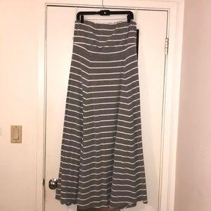Grey striped maxi stretch tube dress